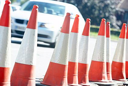 Traffic cones at Richmond VA driving test