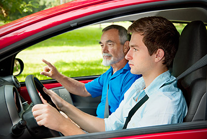 Teenage driver takes behind the wheel test