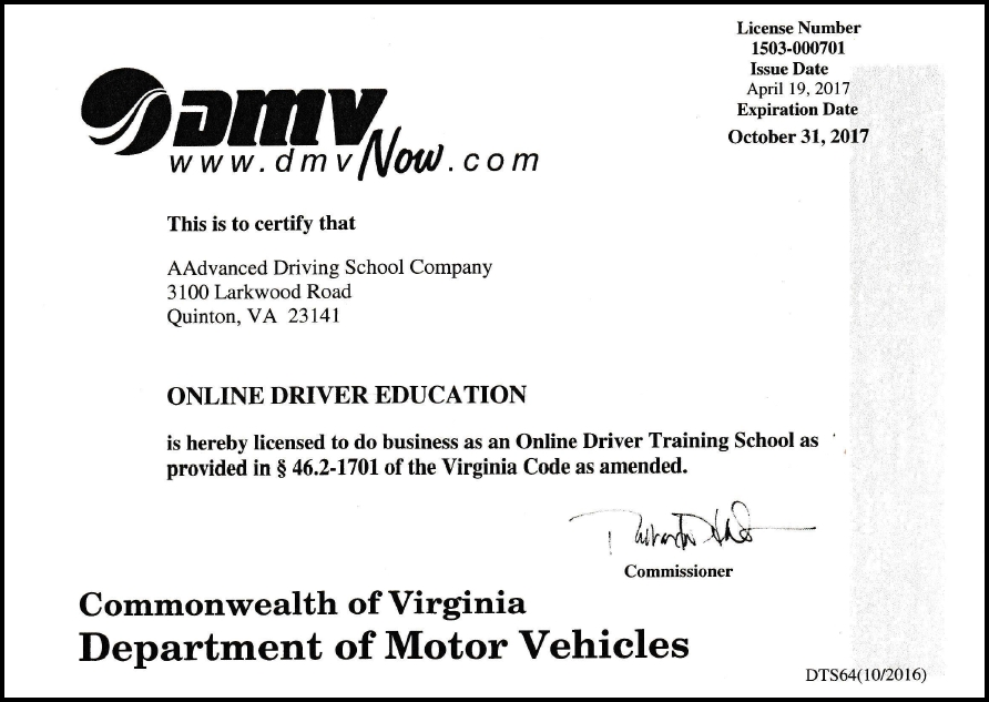 VA DMV Approved Online Driver Training License